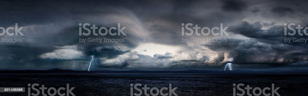 Thunderstorm in a Large Desert (Day) stock photo