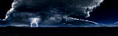 Digitally generated dramatic and majestic panoramic landscape of a thunderstorm in a large desert during the night.