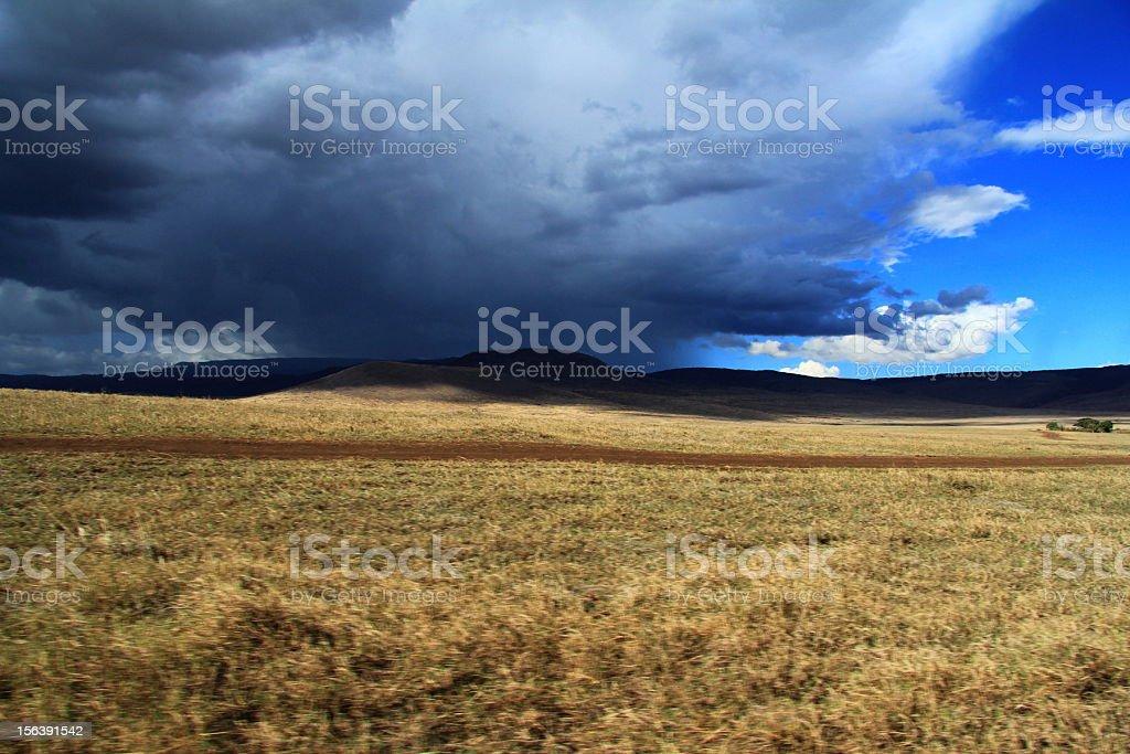 Thunderstorm in Ngorongoro crater, Tanzania royalty-free stock photo