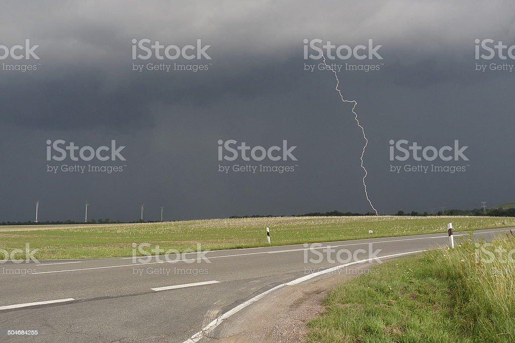 Thunderstorm in Saxonia stock photo