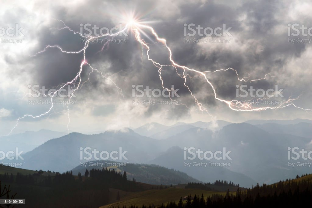 A powerful dangerous natural phenomenon in the mountains of...