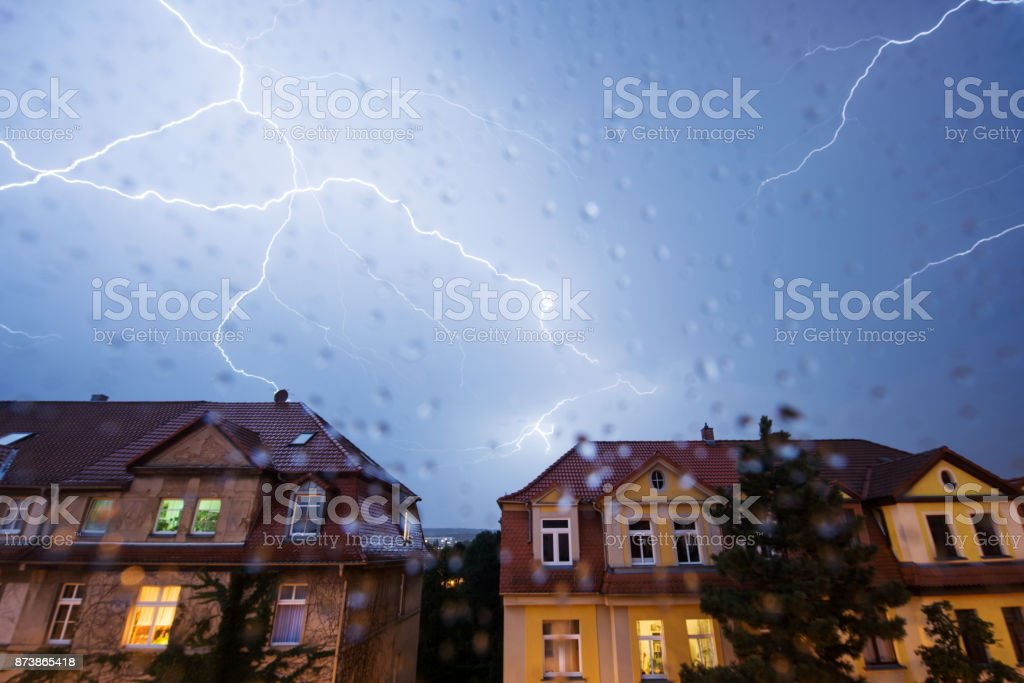 Thunderstorm in the city, Weimar, Germany stock photo