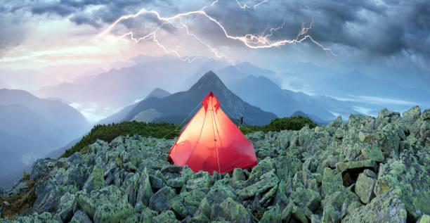 thunderstorm is dangerous for travelers stock photo
