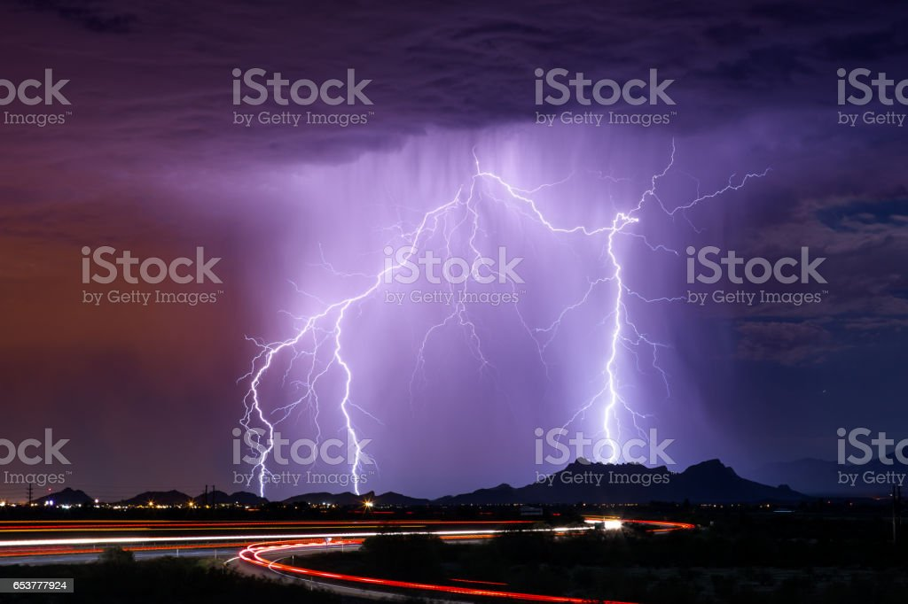 Thunderstorm lightning stock photo