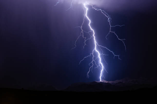 Thunderstorm lightning strike stock photo