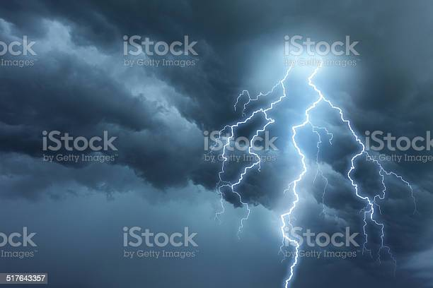 Photo of Thunderstorm lightning with dark cloudy sky