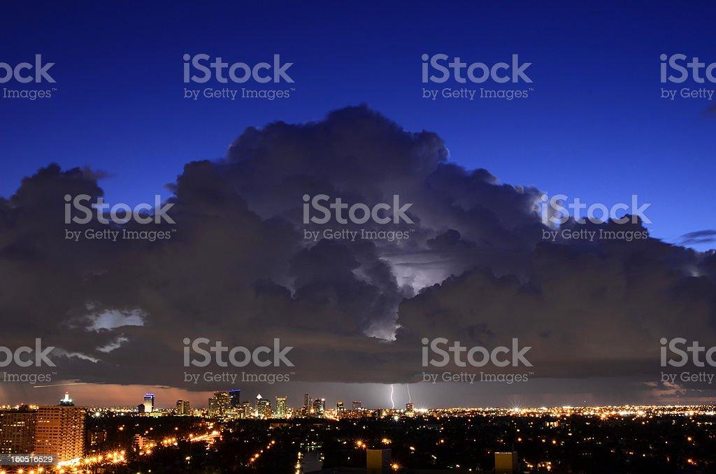 Thunderstorm over City royalty-free stock photo