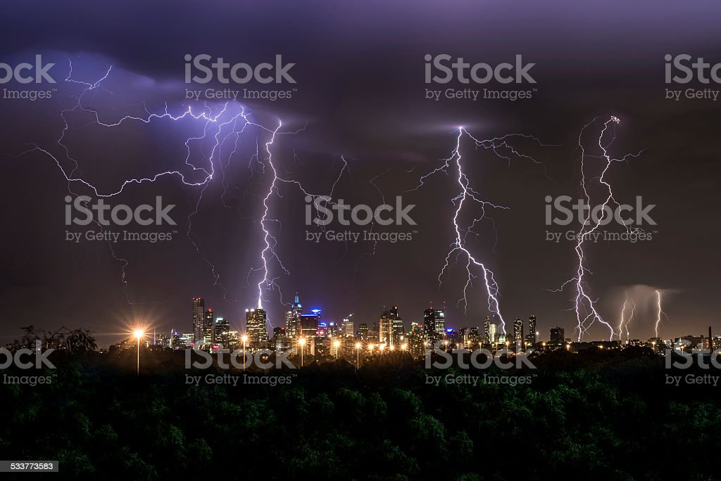 Thunderstorm over Melbourne City stock photo
