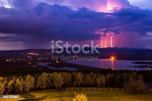 istock Thunderstorm over the  dam 495763967