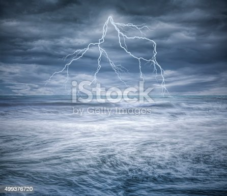 503731700 istock photo Thunderstorm over the ocean 499376720