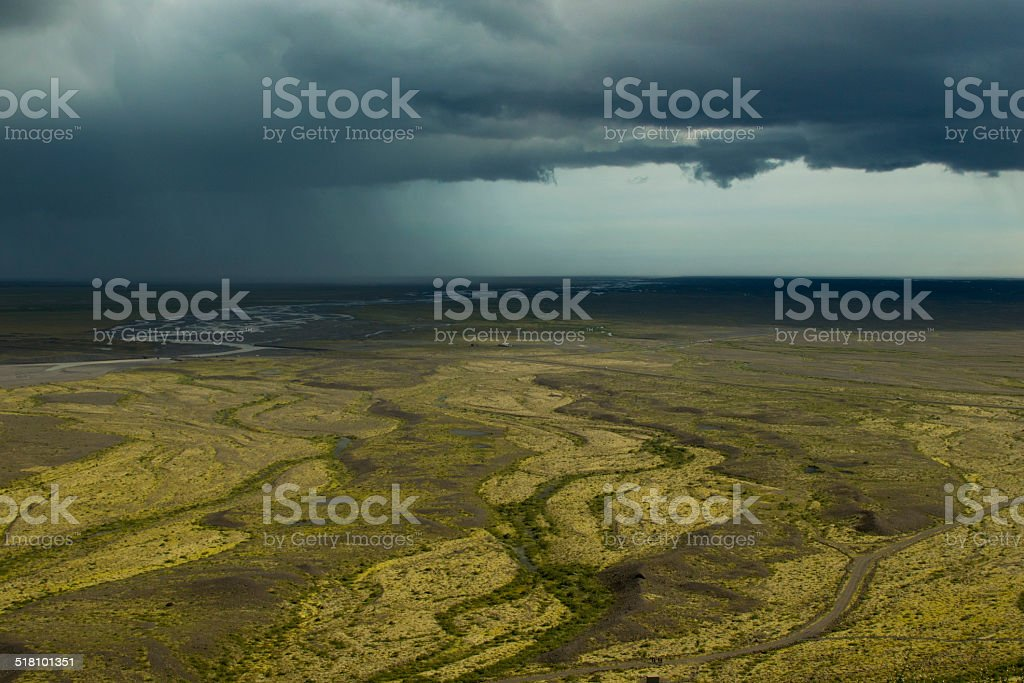 Thunderstorm over the sandur (lava plains) in southern Iceland stock photo