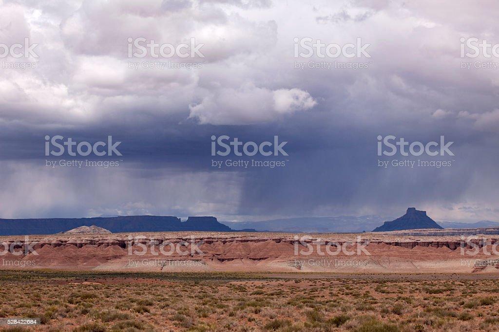 Thunderstorm rain falls over Colorado Plateau Canyonlands Utah stock photo