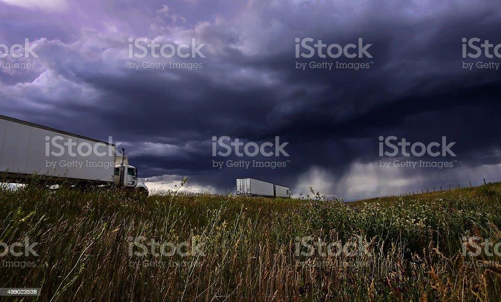 Thunderstorm run stock photo