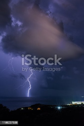 858837068istockphoto Thunderstorm. Southern coast of the Crimea. 1186237538
