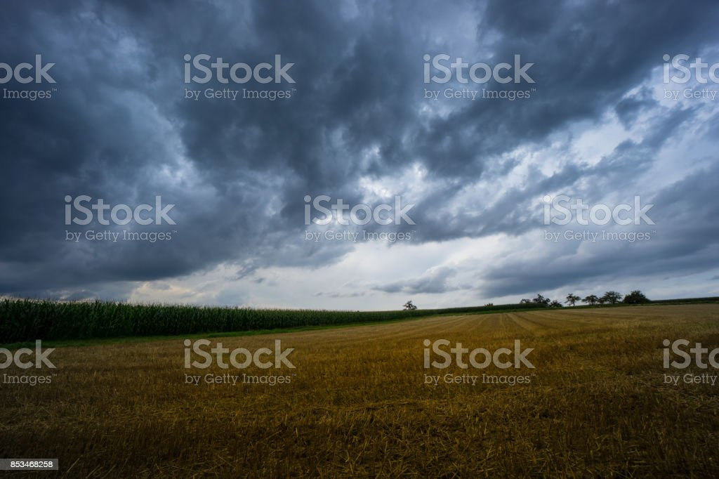 Thunderstorm with dramatic sky and cloud formations over harvested...