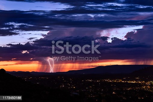 1039163636istockphoto Thunderstorm with lightning bolt strike over Sedona, Arizona. 1173450188