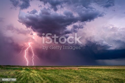 istock Thunderstorm with lightning bolts 858837068