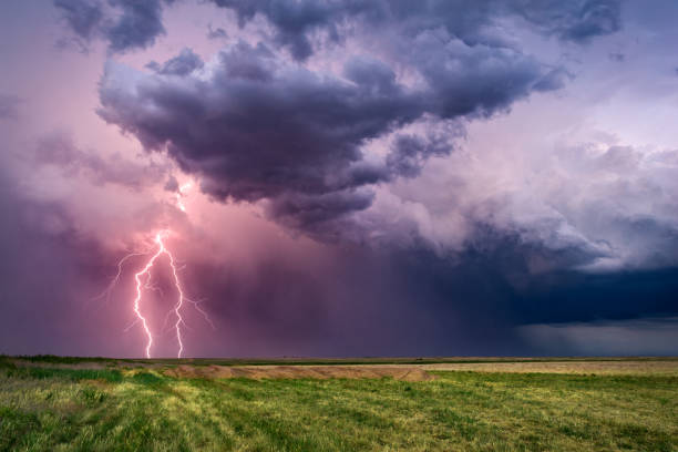 Thunderstorm with lightning bolts stock photo