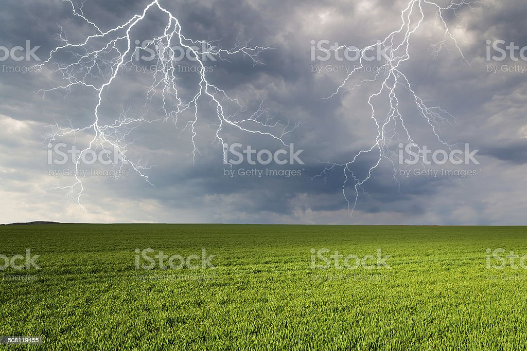 Thunderstorm with lightning in green meadow stock photo