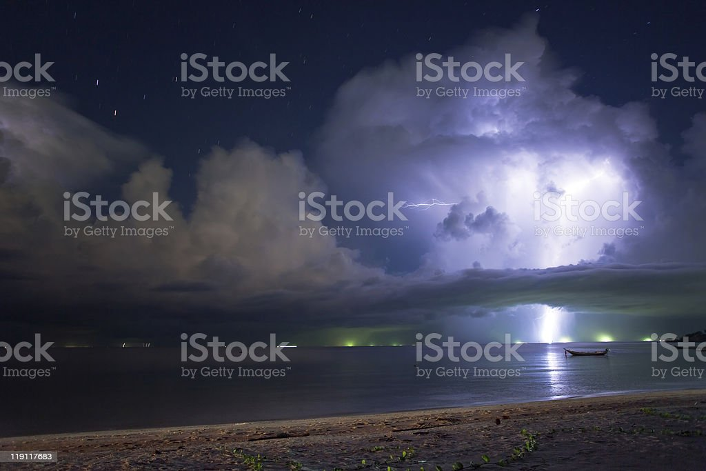 Thunderstorm with lightning over the sea royalty-free stock photo