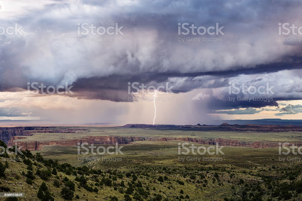 Thunderstorm with lightning stock photo
