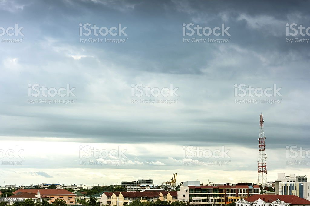 Thunderstorms and communication towers stock photo