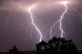 Night shot of stunning lightning strikes over non-urban landscape