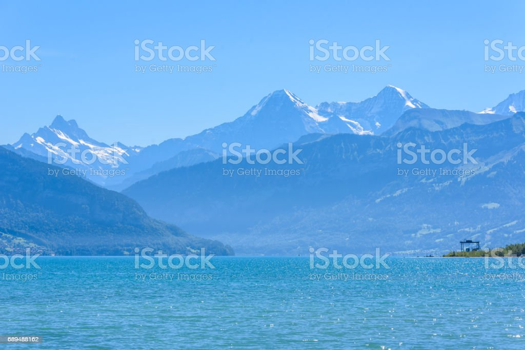 Thuner lake at Thun with beautiful panorama view to mountain scenery - Switzerland stock photo