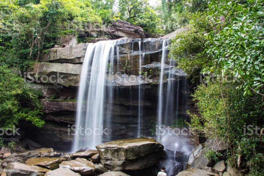 Thung Na Muang Waterfall , Ubon Ratchathani in thailand stock photo