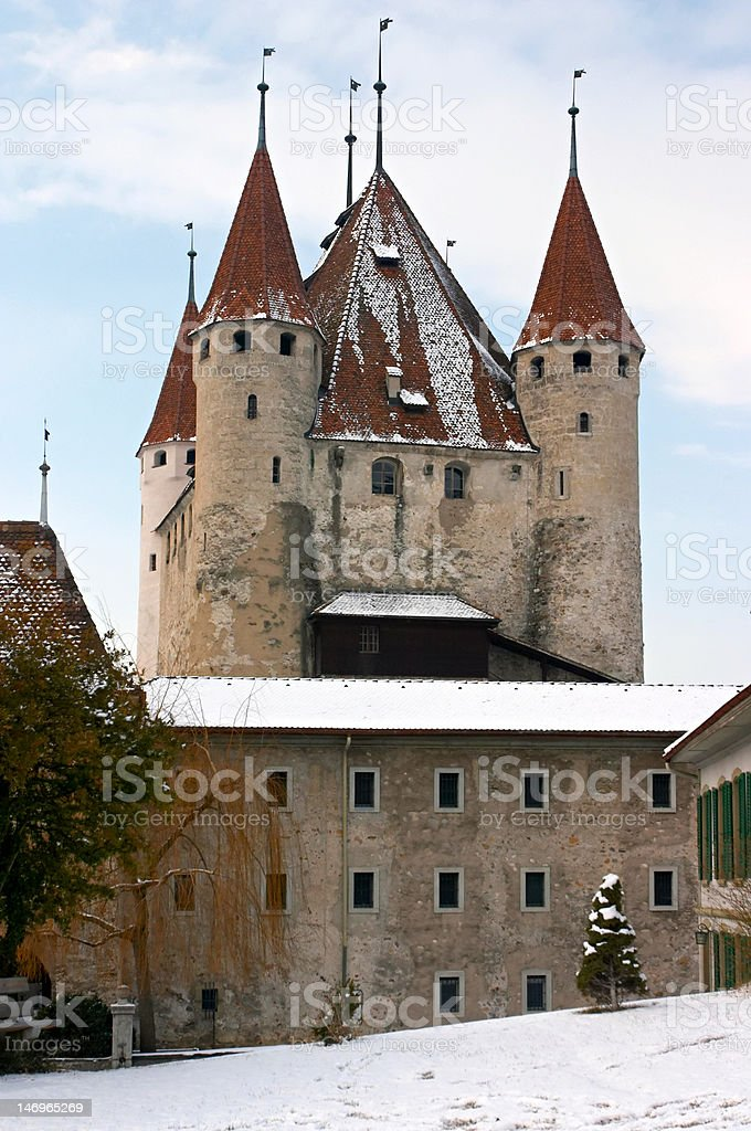 Thun's Castle in winter royalty-free stock photo