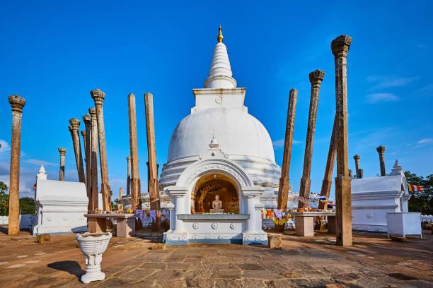 Thuparamaya is the first Buddhist temple in Sri Lanka.Tourist Destination in Anuradhapura. stock photo