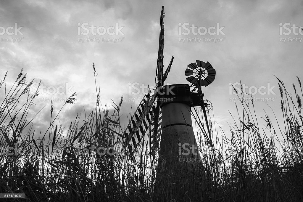 Thurne Mill in Black and White stock photo