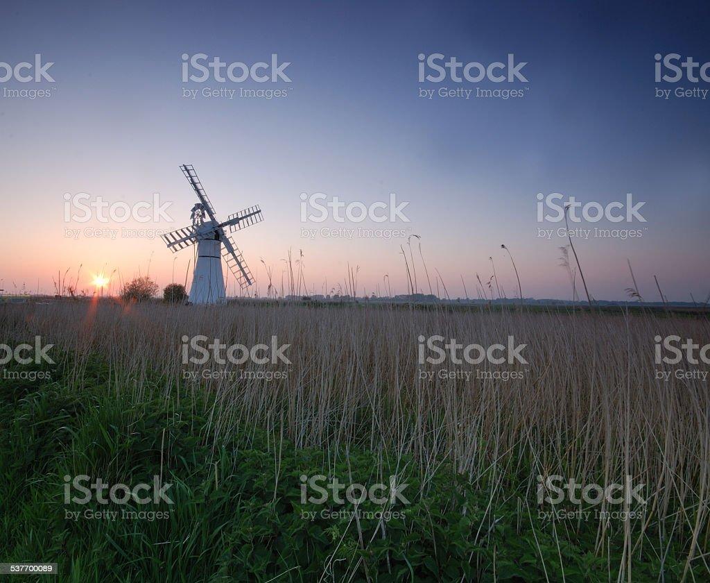 Thurne Mill Sunset stock photo