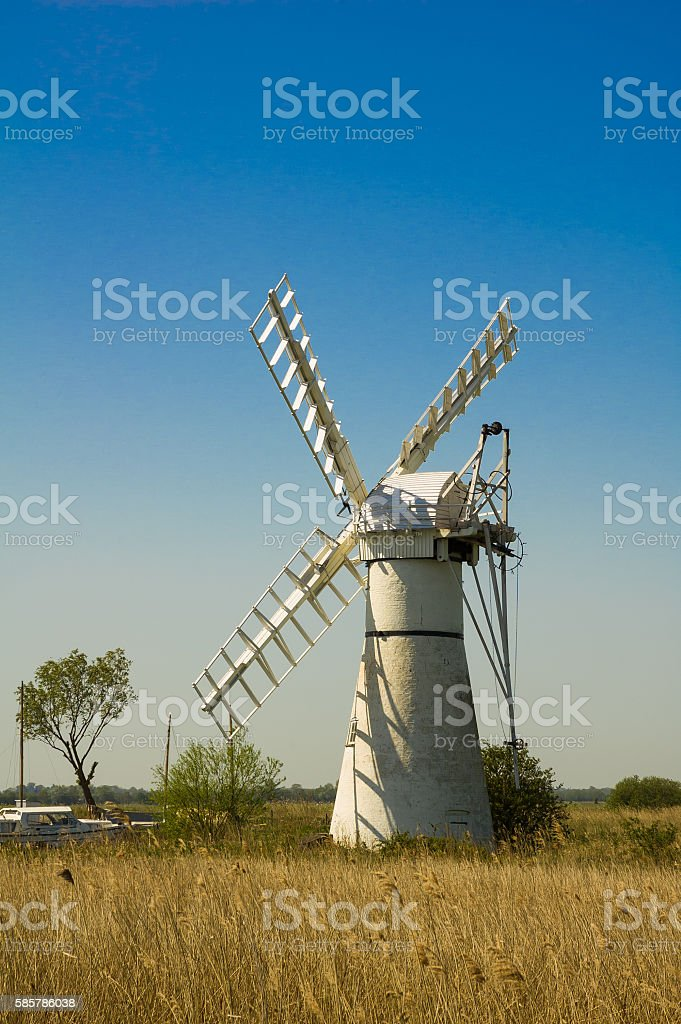 Thurne Pump drainage mill stock photo