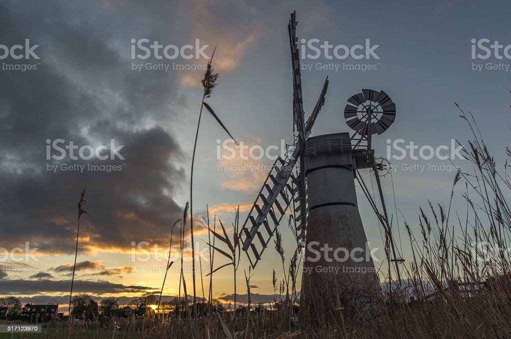 Thurne Windmill at Sunrise stock photo