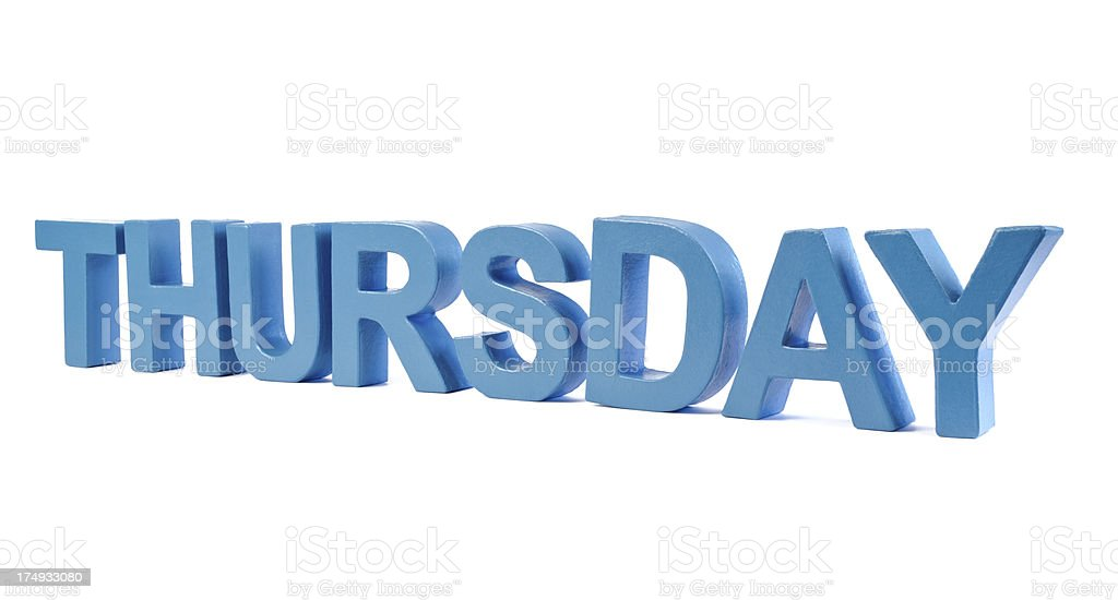 Thursday - day in blue letters stock photo