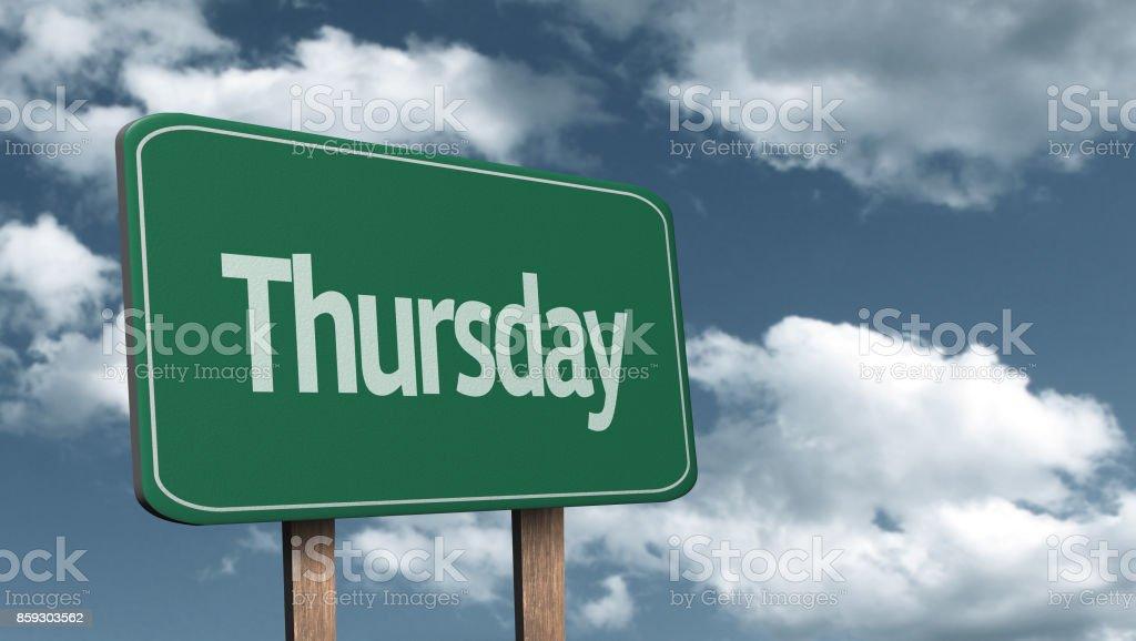 Thursday road sign stock photo