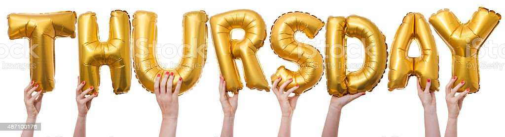 Thursday word made from gold balloons stock photo