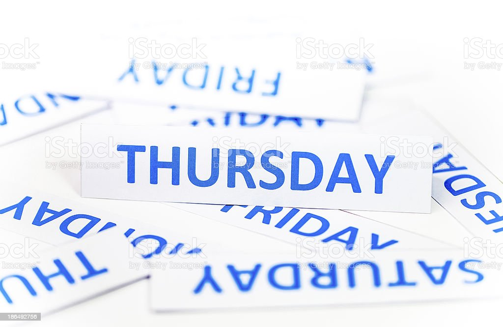 Thursday word textture background royalty-free stock photo