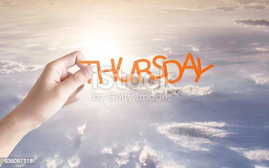 1039894076 istock photo Thursday written in the sky 636067118