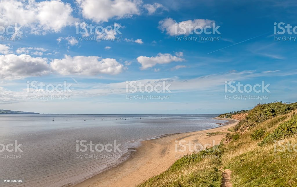 Thurstaston beach on the wirral UK. stock photo