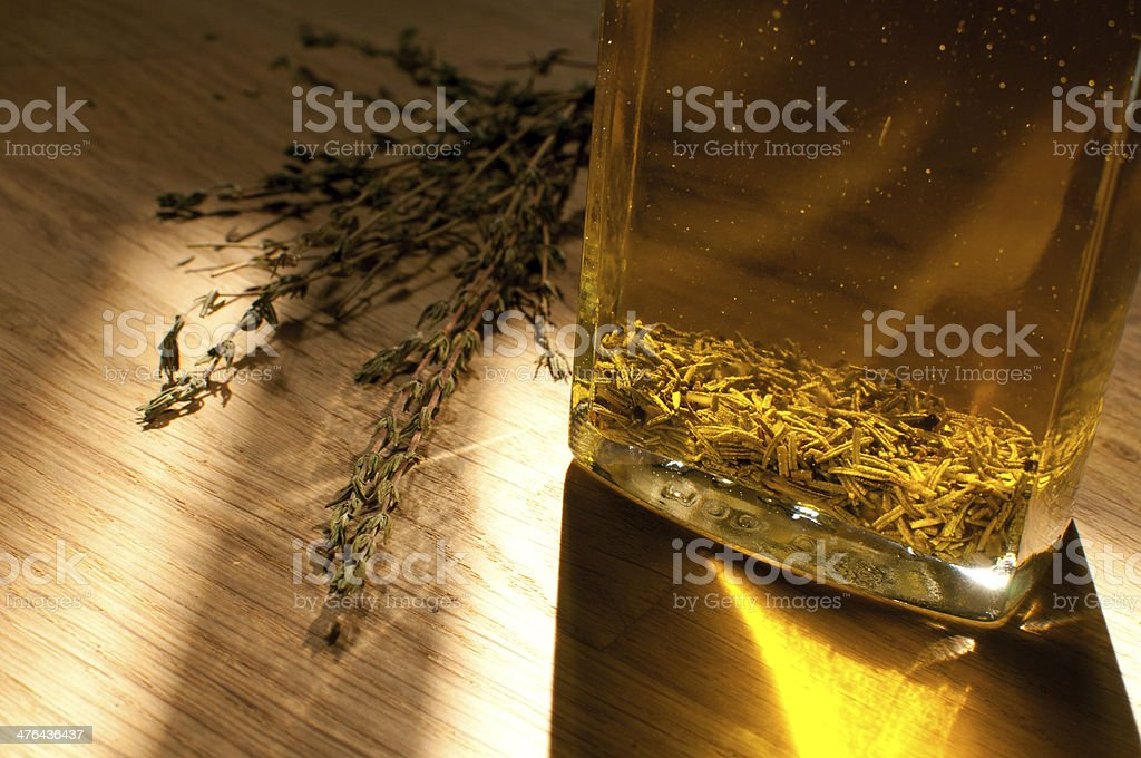 Thyme flavored olive oil royalty-free stock photo
