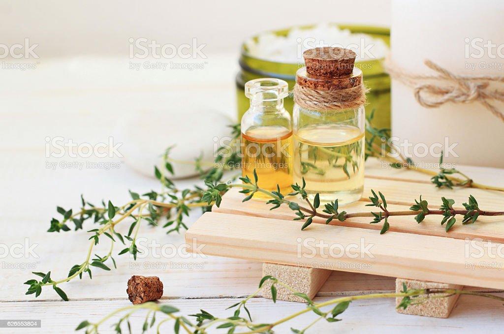Thyme Herb Aromatherapy treatment. Botanic Spa. stock photo