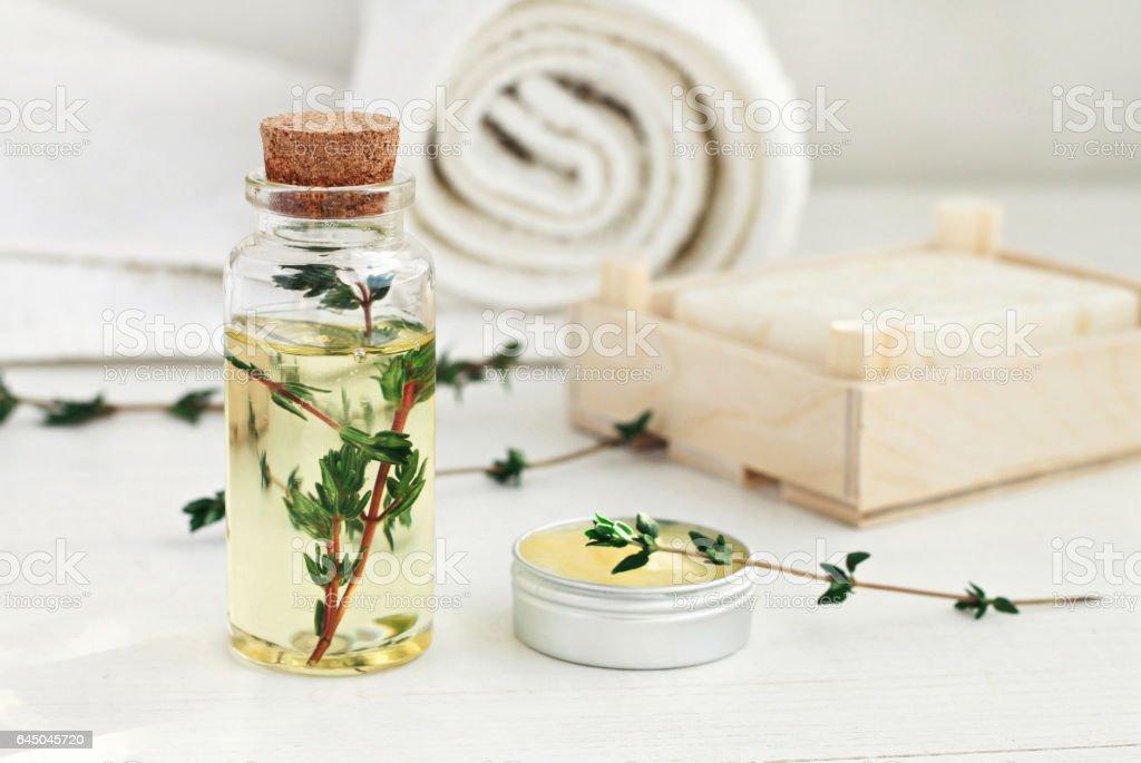 Thyme skincare oil stock photo