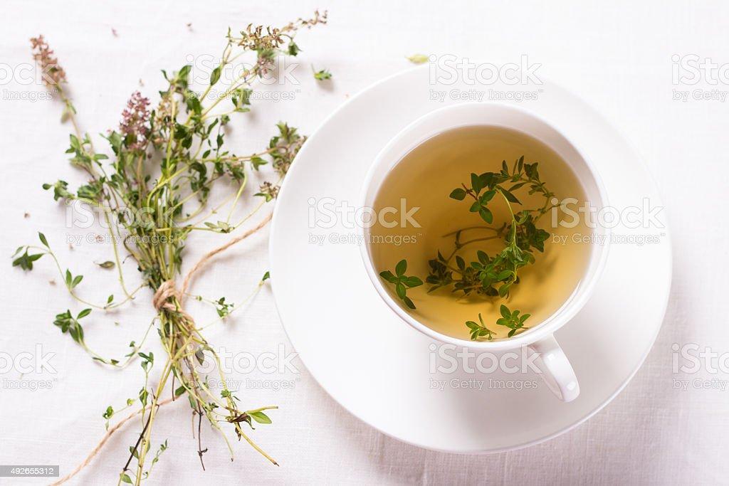 Thyme tea stock photo