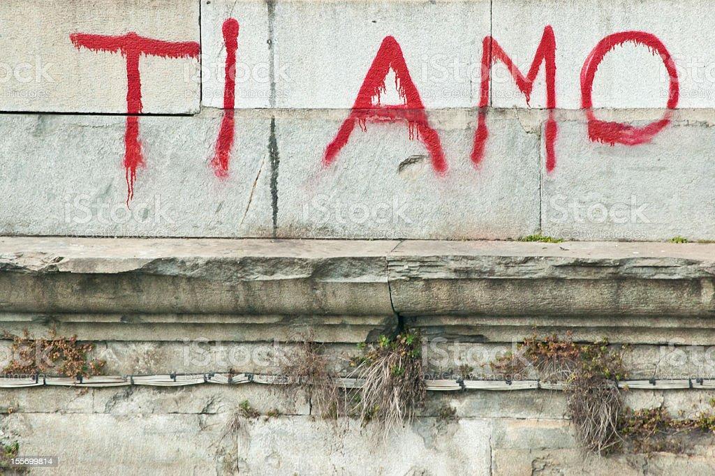 Ti Amo, I Love You - Message On A Wall stock photo