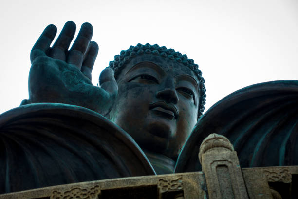 Tian Tan Buddha with Abhaya Mudra stock photo