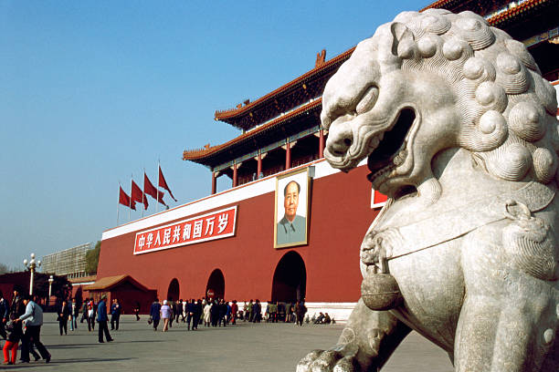 Tiananmen Gate Gate of Heavenly Peace entrance to The Forbidden City at Tiananment Square in Beijing, China. mao tse tung stock pictures, royalty-free photos & images