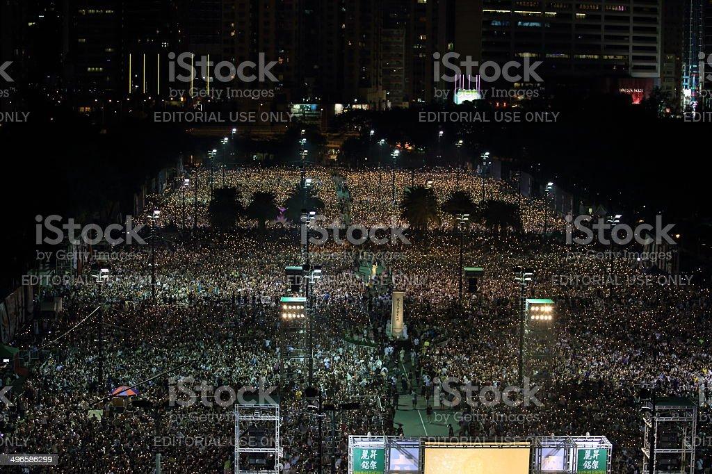 Tiananmen square 25th anniversary vigil candle light in Hong kong stock photo