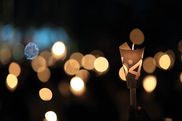 Tiananmen square 25th anniversary vigil candle light stock photo